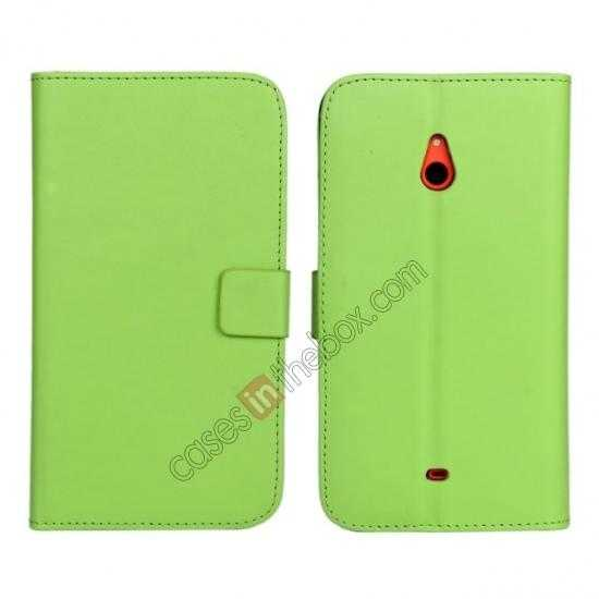 wholesale PU Leather Wallet Flip Case Cover For Nokia Lumia 1320 - Green