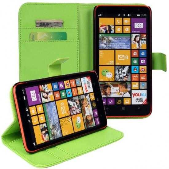 discount PU Leather Wallet Flip Case Cover For Nokia Lumia 1320 - Green