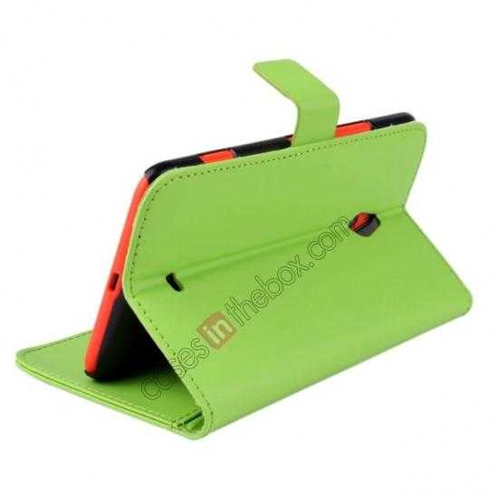top quality PU Leather Wallet Flip Case Cover For Nokia Lumia 1320 - Green