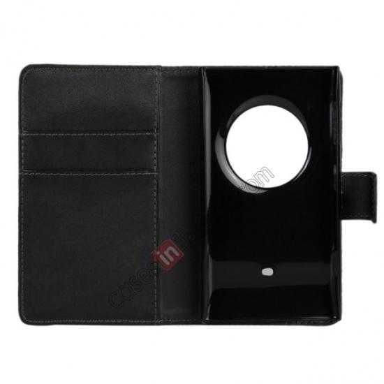 best price PU Leather Wallet Flip Case Cover For Nokia Lumia 1020 - Black