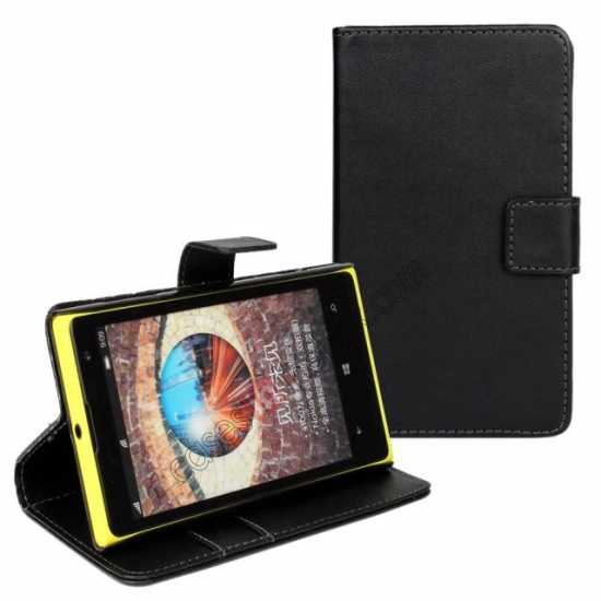 discount PU Leather Wallet Flip Case Cover For Nokia Lumia 1020 - Black