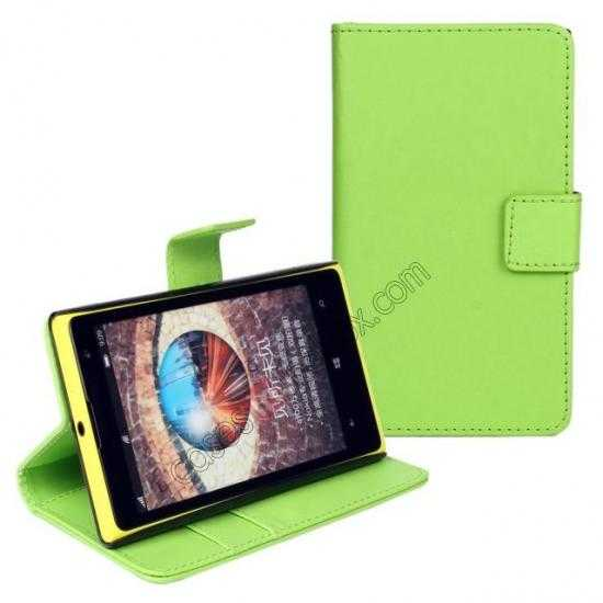 discount PU Leather Wallet Flip Case Cover For Nokia Lumia 1020 - Green