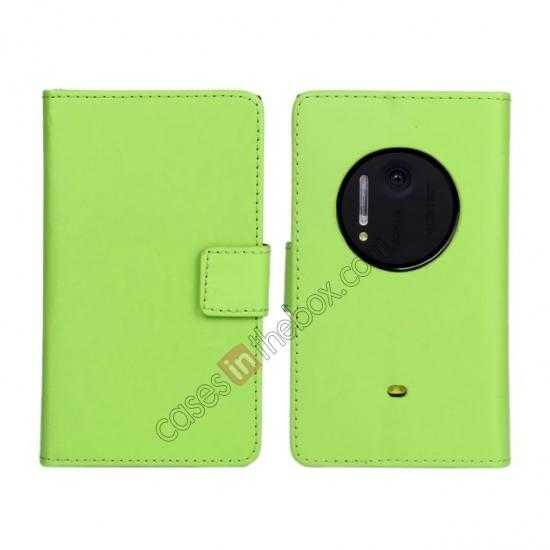 wholesale PU Leather Wallet Flip Case Cover For Nokia Lumia 1020 - Green