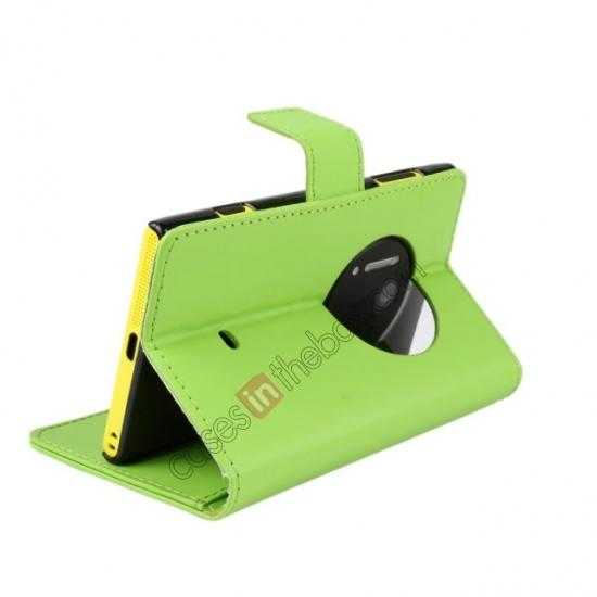 top quality PU Leather Wallet Flip Case Cover For Nokia Lumia 1020 - Green
