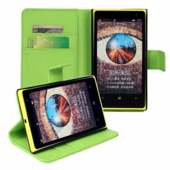 cheap PU Leather Wallet Flip Case Cover For Nokia Lumia 1020 - Green
