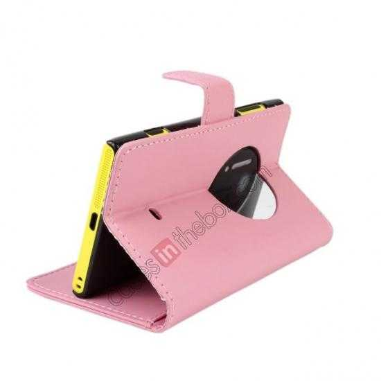 top quality PU Leather Wallet Flip Case Cover For Nokia Lumia 1020 - Pink