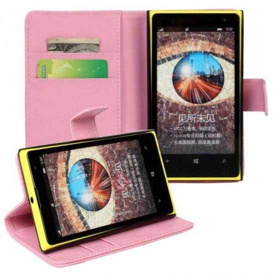 cheap PU Leather Wallet Flip Case Cover For Nokia Lumia 1020 - Pink