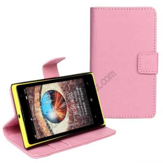 discount PU Leather Wallet Flip Case Cover For Nokia Lumia 1020 - Pink