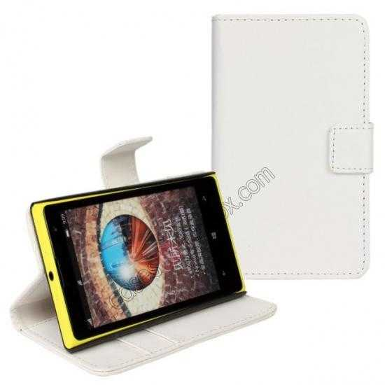 discount PU Leather Wallet Flip Case Cover For Nokia Lumia 1020 - White