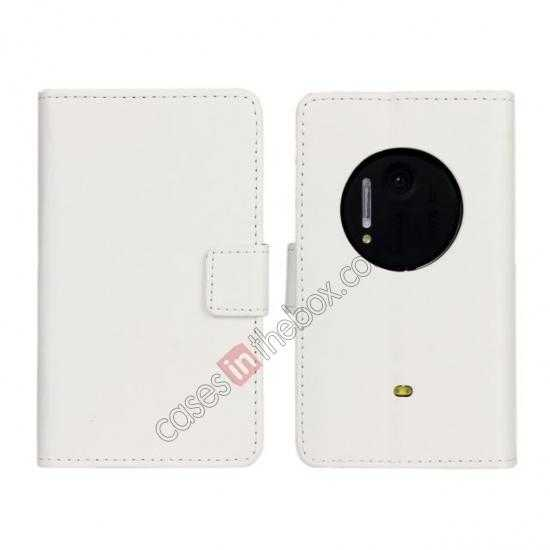 wholesale PU Leather Wallet Flip Case Cover For Nokia Lumia 1020 - White