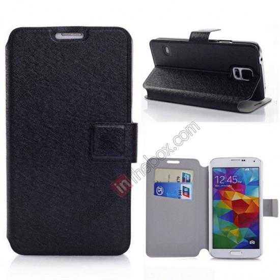 wholesale Rain Silk Pattern Leather Folio Flip Stand Case for Samsung Galaxy S5 G900 - Black