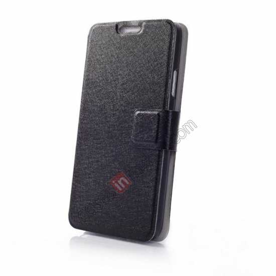 top quality Rain Silk Pattern Leather Folio Flip Stand Case for Samsung Galaxy S5 G900 - Black