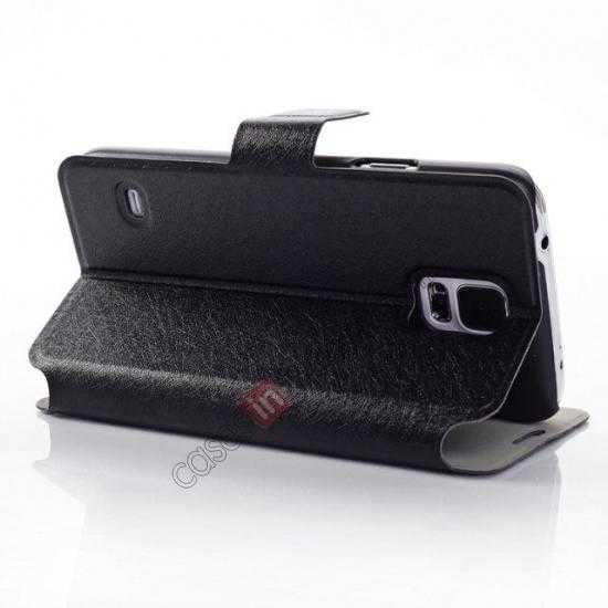 best price Rain Silk Pattern Leather Folio Flip Stand Case for Samsung Galaxy S5 G900 - Black