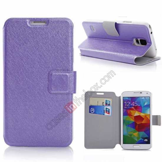 wholesale Rain Silk Pattern Leather Folio Flip Stand Case for Samsung Galaxy S5 G900 - Purple