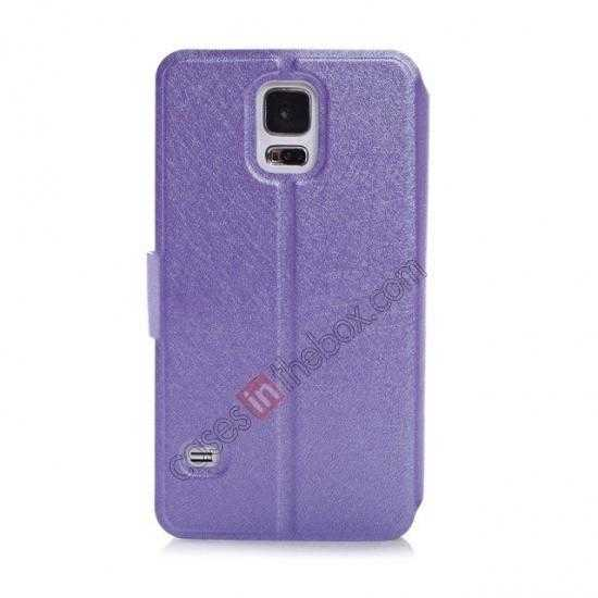 cheap Rain Silk Pattern Leather Folio Flip Stand Case for Samsung Galaxy S5 G900 - Purple