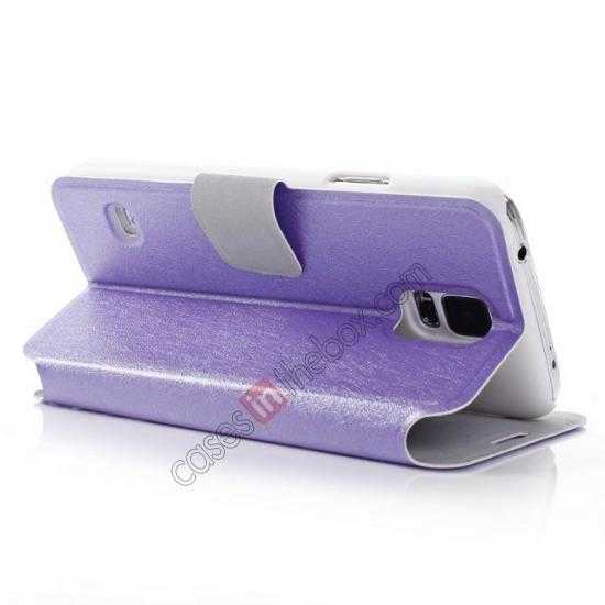 top quality Rain Silk Pattern Leather Folio Flip Stand Case for Samsung Galaxy S5 G900 - Purple