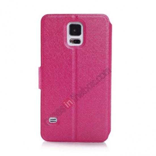 cheap Rain Silk Pattern Leather Folio Flip Stand Case for Samsung Galaxy S5 G900 - Rose