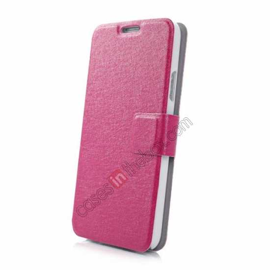 top quality Rain Silk Pattern Leather Folio Flip Stand Case for Samsung Galaxy S5 G900 - Rose