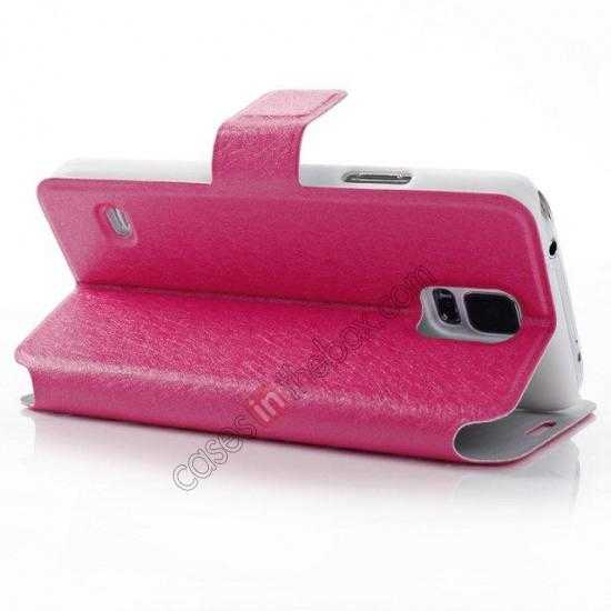 best price Rain Silk Pattern Leather Folio Flip Stand Case for Samsung Galaxy S5 G900 - Rose