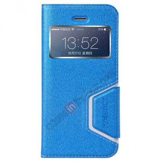wholesale Remax Notebook Series S View Leather Case Stand for iPhone 5S/5 - Blue
