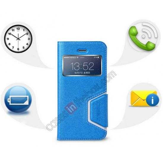 discount Remax Notebook Series S View Leather Case Stand for iPhone 5S/5 - Blue