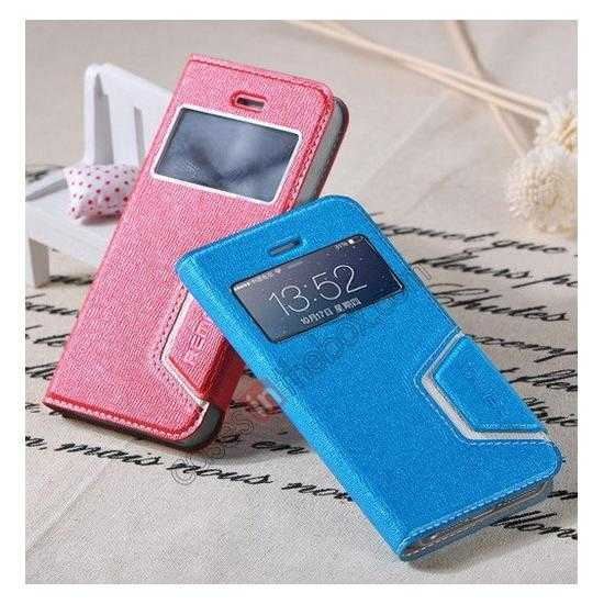 top quality Remax Notebook Series S View Leather Case Stand for iPhone 5S/5 - Blue