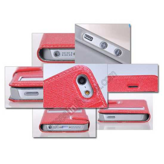 cheap Remax Notebook Series S View Leather Case Stand for iPhone 5S/5 - Red