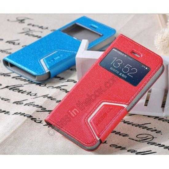 top quality Remax Notebook Series S View Leather Case Stand for iPhone 5S/5 - Red