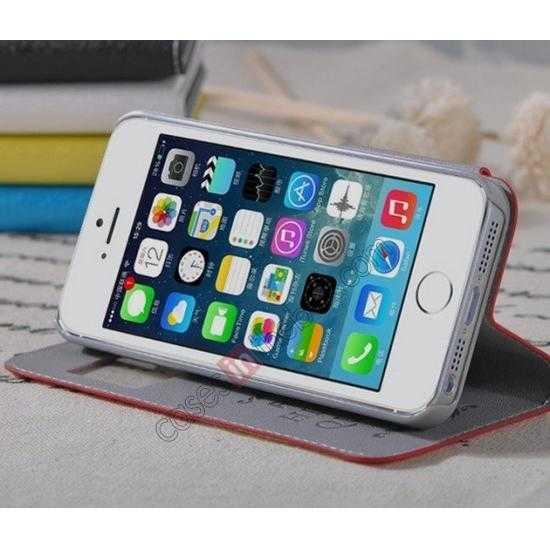 best price Remax Notebook Series S View Leather Case Stand for iPhone 5S/5 - Red