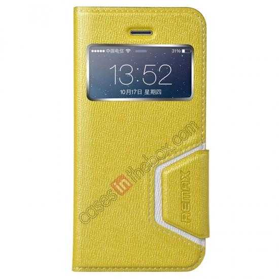 wholesale Remax Notebook Series S View Leather Case Stand for iPhone 5S/5 - Yellow