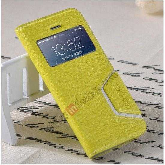 best price Remax Notebook Series S View Leather Case Stand for iPhone 5S/5 - Yellow