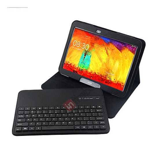 cheap Removable Bluetooth Keyboard Leather Case for Samsung Galaxy Tab Pro 10.1 T520 - Black