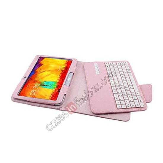 cheap Removable Bluetooth Keyboard Leather Case for Samsung Galaxy Tab Pro 10.1 T520 - Pink