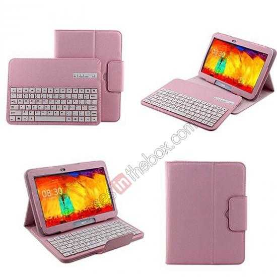 wholesale Removable Bluetooth Keyboard Leather Case for Samsung Galaxy Tab Pro 10.1 T520 - Pink