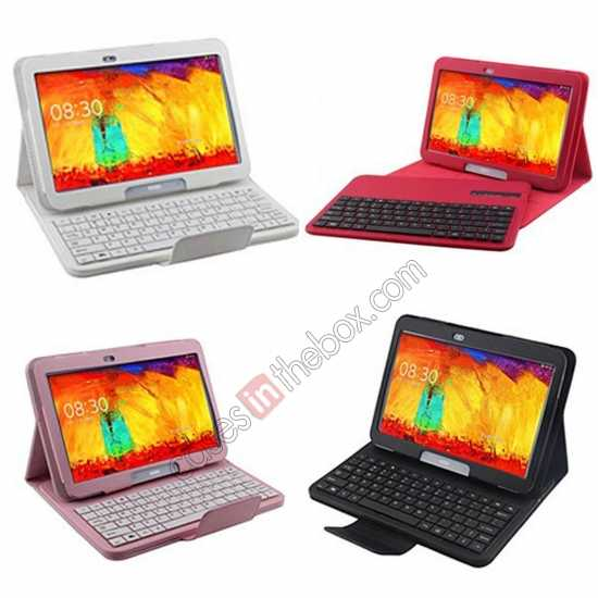 low price Removable Bluetooth Keyboard Leather Case for Samsung Galaxy Tab Pro 10.1 T520 - Pink