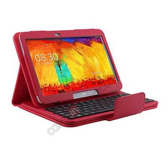 discount Removable Bluetooth Keyboard Leather Case for Samsung Galaxy Tab Pro 10.1 T520 - Red