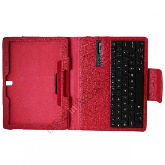 best price Removable Bluetooth Keyboard Leather Case for Samsung Galaxy Tab Pro 10.1 T520 - Red