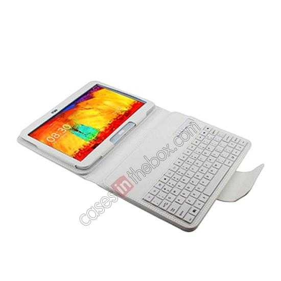 cheap Removable Bluetooth Keyboard Leather Case for Samsung Galaxy Tab Pro 10.1 T520 - White