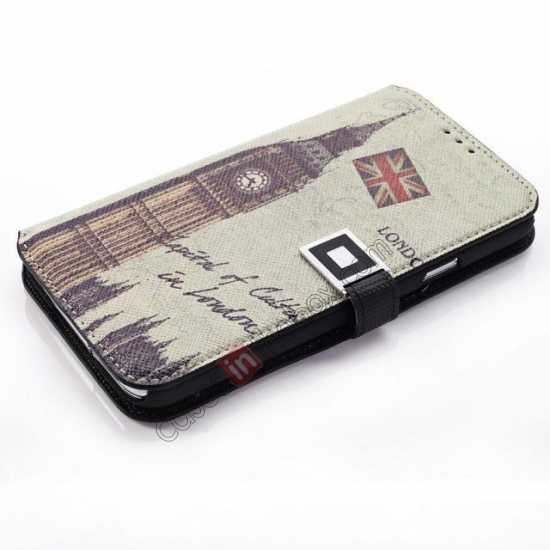 cheap Retro Big Ben Pattern Folio Wallet Leather Case For Samsung Galaxy S5 G900