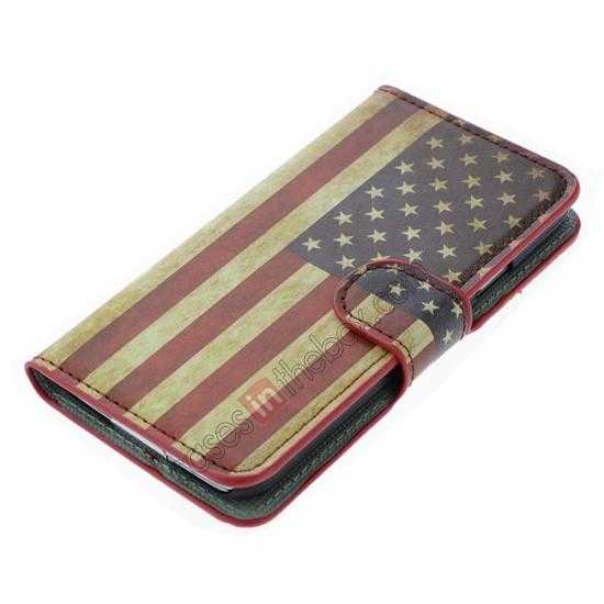 top quality Retro Flag of USA Pattern Wallet Style Stand Leather Case For Samsung Galaxy S5