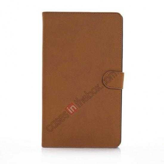 discount Retro Folio Magnetic Leather Stand Case for Samsung Galaxy Tab Pro 8.4 T320 - Brown