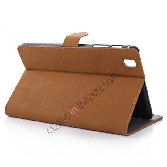 wholesale Retro Folio Magnetic Leather Stand Case for Samsung Galaxy Tab Pro 8.4 T320 - Brown