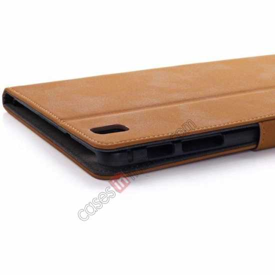 on sale Retro Folio Magnetic Leather Stand Case for Samsung Galaxy Tab Pro 8.4 T320 - Brown