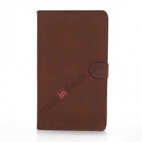 discount Retro Folio Magnetic Leather Stand Case for Samsung Galaxy Tab Pro 8.4 T320 - Dark Brown