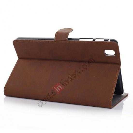 wholesale Retro Folio Magnetic Leather Stand Case for Samsung Galaxy Tab Pro 8.4 T320 - Dark Brown