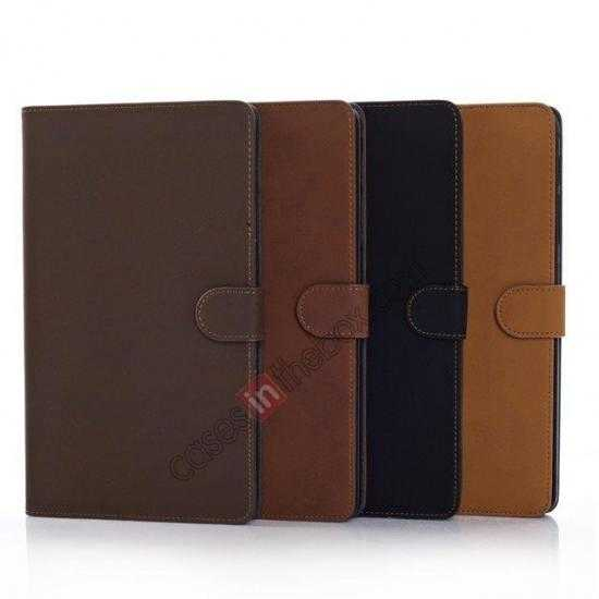 on sale Retro Folio Magnetic Leather Stand Case for Samsung Galaxy Tab Pro 8.4 T320 - Dark Brown