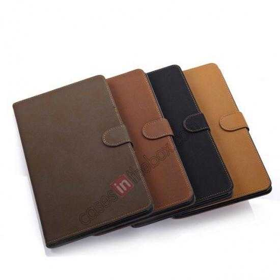 low price Retro Folio Magnetic Leather Stand Case for Samsung Galaxy Tab Pro 8.4 T320 - Dark Brown