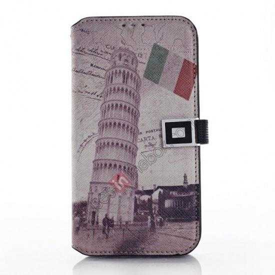 wholesale Retro Leaning Tower Of Pisa Pattern Folio Wallet Leather Case For Samsung Galaxy S5 G900
