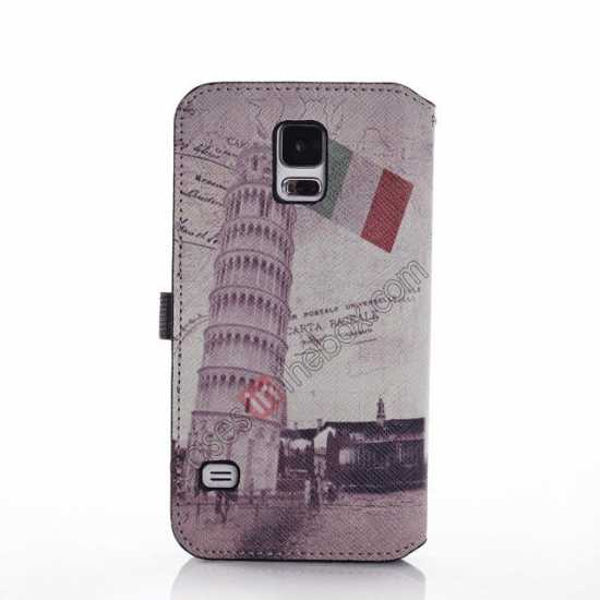 discount Retro Leaning Tower Of Pisa Pattern Folio Wallet Leather Case For Samsung Galaxy S5 G900