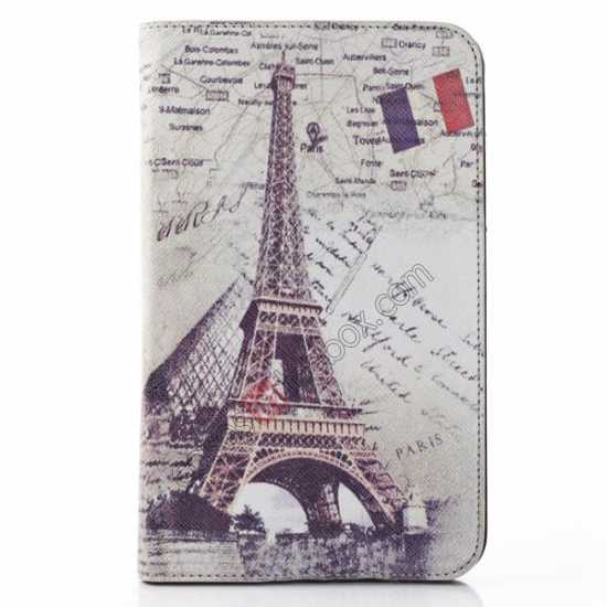 wholesale Retro Smart Leather Case Stand for Samsung Galaxy Tab 3 7.0 Lite T110 - Eiffel Tower